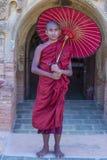 Novice monk in bagan Myanmar. BAGAN , MYANMAR - SEP 05 2017: Novice monk in bagan Myanmar on September 05 2017 , The ruins of Bagan has 2,200 temples and pagodas royalty free stock photography