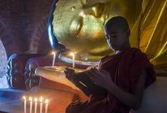 Novice monk in bagan Myanmar. BAGAN , MYANMAR - SEP 05 2017: Novice monk in bagan Myanmar on September 05 2017 , The ruins of Bagan has 2,200 temples and pagodas stock images