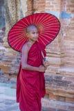 Novice monk in bagan Myanmar Stock Image
