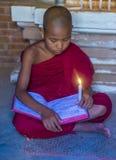 Novice monk in bagan Myanmar. BAGAN , MYANMAR - SEP 05 2017: Novice monk in bagan Myanmar on September 05 2017 , The ruins of Bagan has 2,200 temples and pagodas royalty free stock images