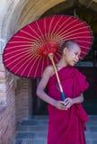 Novice monk in bagan Myanmar. BAGAN , MYANMAR - SEP 05 2017: Novice monk in bagan Myanmar on September 05 2017 , The ruins of Bagan has 2,200 temples and pagodas stock image