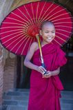 Novice monk in bagan Myanmar. BAGAN , MYANMAR - SEP 05 2017: Novice monk in bagan Myanmar on September 05 2017 , The ruins of Bagan has 2,200 temples and pagodas stock photos