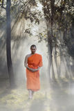 Novice monk. Novice pilgrimage to the forest alone,Novice monk went on a pilgrimage alone royalty free stock images