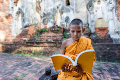 Novice monk reading outdoors Royalty Free Stock Image
