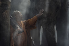 Novice monk. Studying at the monastery to inherit the teachings of the Buddha stock photos