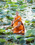 Novice Monk in Thailand. Two Novice Monk in Thailand royalty free stock photography