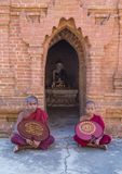 Novice monks in bagan Myanmar Royalty Free Stock Photography