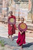 Novice monks in bagan Myanmar. BAGAN , MYANMAR - SEP 05 2017: Novice monks in bagan Myanmar on September 05 2017 , The ruins of Bagan has 2,200 temples and Royalty Free Stock Images