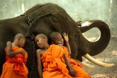 Novice Monks happiness Stock Photos