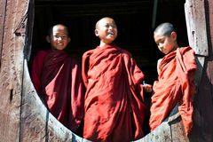Free Novice Monks. Myanmar Stock Photo - 48816350