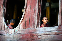 Novice monks, Myanmar Royalty Free Stock Photos