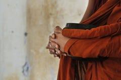 Novice monks recept  alms. In the historical park of Bagan,Myanmar stock image