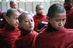 Novice monks waiting in line, Myanmar Royalty Free Stock Photo
