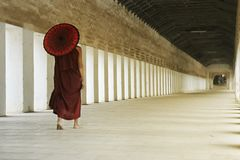 Novice monks walking with umbrella. In the historical park of Bagan,Myanmar stock photography