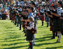 Novice Piper Massed Bands Stock Images