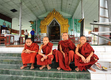 Novices at Buddhist temple in Inlay, Myanmar Stock Photo