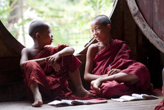 Novices at Shwe Yan Phe Monastery Stock Photo