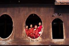 Novices at Shwe Yan Phe Monastery Stock Photos