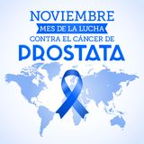 Noviembre mes de la lucha contra el cancer de Prostata, November month of fight against Prostate cancer spanish text. Blue ribbon and world map vector Royalty Free Stock Images