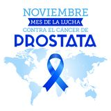 Noviembre mes de la lucha contra el cancer de Prostata, November month of fight against Prostate cancer spanish text royalty free illustration