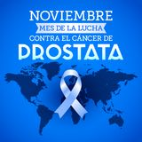 Noviembre mes de la lucha contra el cancer de Prostata, November month of fight against Prostate cancer spanish text. Blue ribbon and world map vector Stock Photo