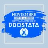 Noviembre mes de la lucha contra o câncer de Prostata do EL, mês de novembro da luta contra o texto espanhol do câncer da próstat Fotografia de Stock