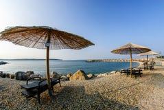 Novigrad - Cittanova strand och vågor Fotografering för Bildbyråer