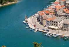 Picturesque small riverside town of Novigrad in Croatia stock image