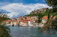 Picturesque small riverside town of Novigrad in Croatia royalty free stock image