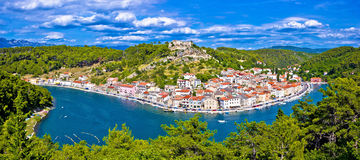 Novigrad Dalmatinski bay panoramic view Royalty Free Stock Images