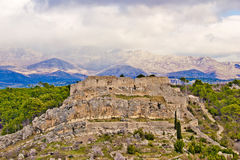 Novigrad Dalmatinski fortress and Velebit Mountain Stock Images