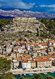 Novigrad dalmatinski and Velebit mountain Stock Photography
