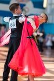 Novikov Yaroslav och Murza Alina Perform Juvenile-1 standart program Fotografering för Bildbyråer