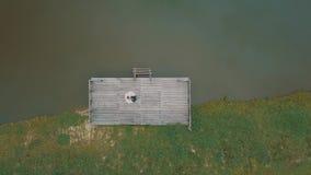 Novio con la novia cerca del lago en el parque Pares de la boda Tiro a?reo almacen de metraje de vídeo
