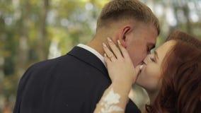 Novio con la novia en el Forest Park Pares de la boda Fabricación de un beso almacen de metraje de vídeo