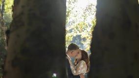 Novio con la novia en el Forest Park Pares de la boda Familia feliz metrajes