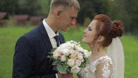 Novio con la novia que camina cerca del lago en el parque Pares de la boda C?mara lenta almacen de video