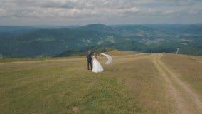 Novio con la novia que camina junto en las colinas de una montaña Tiro a?reo del abej?n almacen de metraje de vídeo