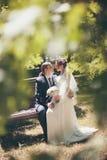 Novio de abarcamiento de la novia feliz Imágenes de archivo libres de regalías