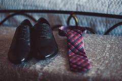 Novio de las mancuernas de la corbata de la mariposa del reloj de los zapatos para casarse Imagen de archivo