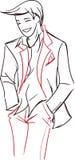 Novio de Simbolic en una chaqueta ligera ilustración del vector