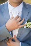 Novio en día de boda Imagen de archivo libre de regalías