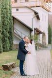 Novio hermoso que besa blando a su novia blanda en el paseo en parque verde con los edificios y los árboles de ciprés antiguos fotografía de archivo libre de regalías