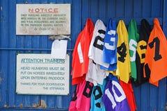 Novio numerado del codificado por color baberos excelentes de la carrera de caballos Imágenes de archivo libres de regalías