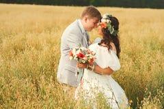 Novio que abraza con la novia en campo amarillo Fotos de archivo libres de regalías