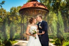 Novio que besa a la novia cerca del pavillion en parque imagenes de archivo