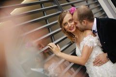 Novio que besa a su novia Foto de archivo libre de regalías