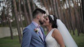 Novio que camina con la novia Pares de la boda Familia feliz Hombre y mujer en amor almacen de video