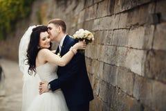 Novio romántico hermoso que besa a la novia morena hermosa cerca de ol Imagen de archivo libre de regalías