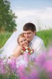 Novio y la novia Imágenes de archivo libres de regalías